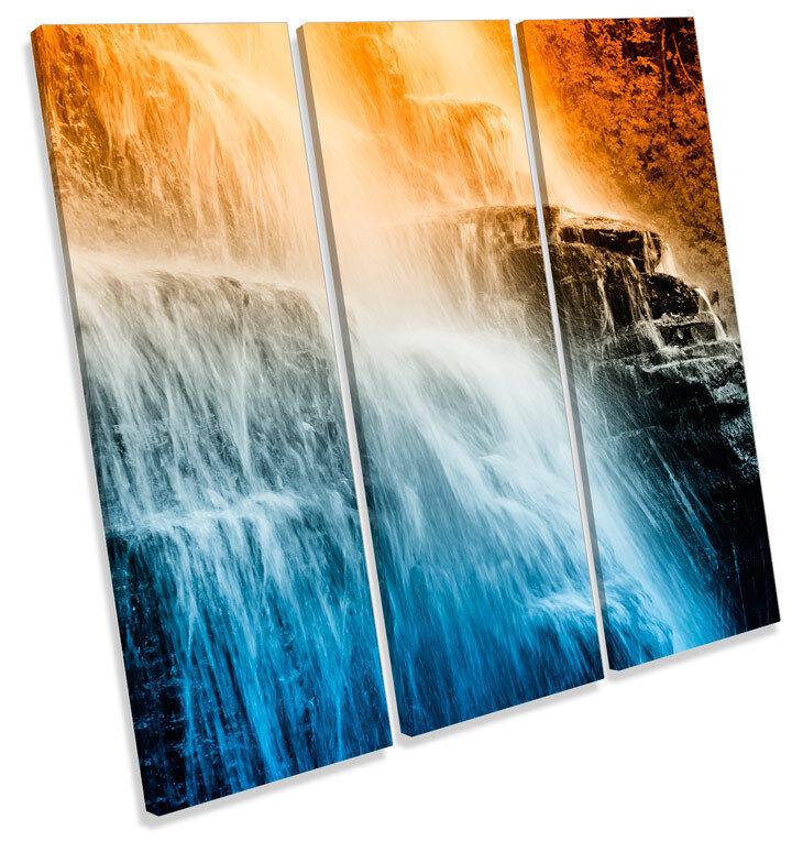 Mountain Sunset Waterfall TREBLE CANVAS Wand Kunst Square Drucken Bild