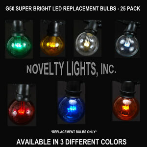 25 Pack G50 LED Outdoor Patio Globe Shape Replacement Bulbs - Super Bright LED eBay