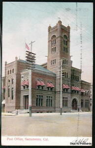 SACRAMENTO-CA-Post-Office-Antique-1909-Postcard
