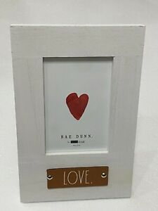 """Rae Dunn Leather Patch """"LOVE"""" Wooden 4 x 6 Picture Photo Frame WHITE (VERTICAL)"""