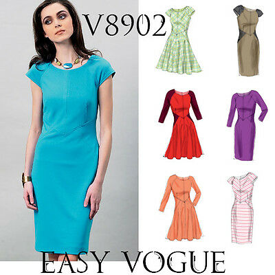 V8902 Vogue 8902 Easy Sewing Pattern Custom Fit Options 6 Styles Dresses Casual