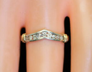 14K-Gold-Estate-Women-039-s-36-Ct-Diamond-Accent-Wedding-Band-Ring-Size-7