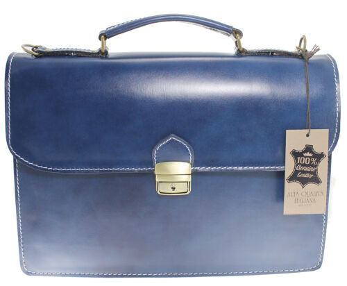 Man/'s handbag briefcase laptop case genuine italian leather blue 7004 US