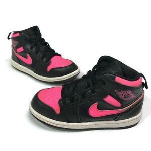 Nike Air Jordan 1 Retro High GS Black Hyper Pink Size 10C White 705324-019