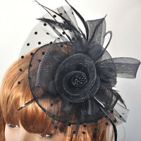 Brand New Lady Hair Accessory Fascinator Clip Handmade Lace Black Headpieces