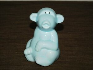 VINTAGE-4-1-4-034-HIGH-BLUE-CERAMIC-MONKEY-BANK
