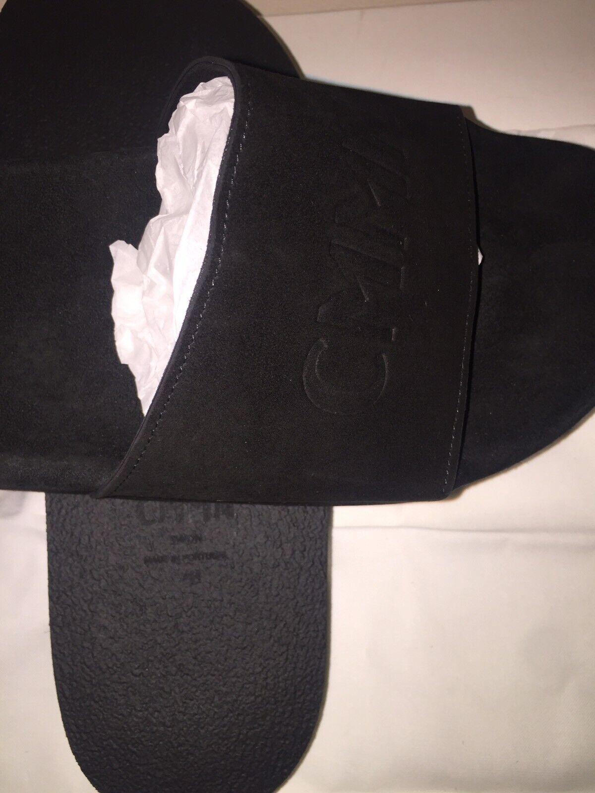 La Svezia di marca COMMON neri in in in pelle scamosciata diapositive-Large UK9 10 RRP 7e3e7b