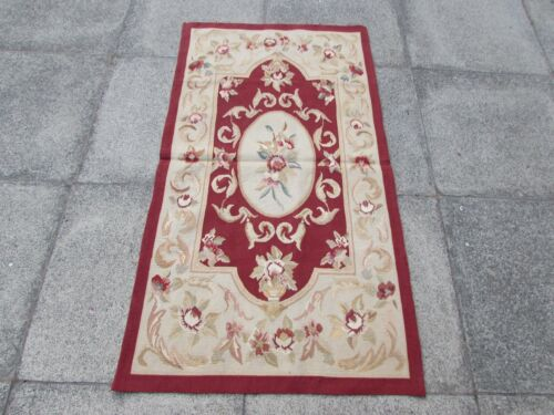 Old Hand Made French Design Wool Maroon Red Original Aubusson 145X80cm 5x3