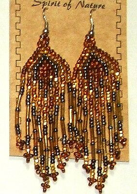 "Beaded Earrings 3"" Length Teal Black Purple Pink  Native Beadwork Regalia SD86"