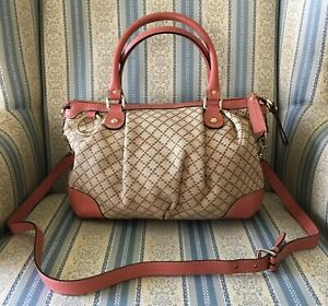 7699166b8d818d Image is loading Gucci-Diamante-Logo-Beige-Canvas-Pink-Leather-Shoulder-