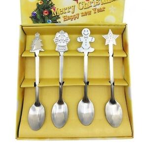 4x Christmas Coffee Spoons Teaspoon Dessert Cream Scoop Cute Xmas Gift Tableware