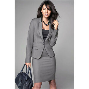 Dark Gray Womens Designer Workwear Suits 2 Piece Skirt Suit Formal