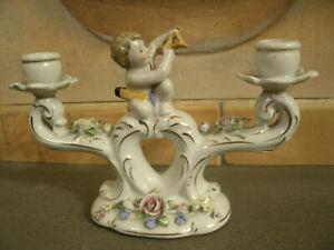 Candelabro-in-Ceramica-a-2-Bracci-con-Bambino-con-Arco-Dec-Fiori-Made-in-Germany