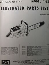 Mcculloch Chain Saw 1 63 Parts Catalog Manual 2 Cycle Gasoline Chainsaw 1962