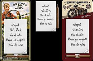Notepad-Shield-with-Magnet-John-Deere-Harley-Davidson-Refrigerator-Kitchen
