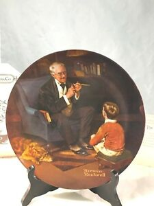 Vintage-Norman-Rockwell-plate-034-The-Tycoon-034-Bradford-Exchange-NIB