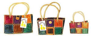 Beach-bag-shopping-bag-basket-made-from-dyed-tree-bark-purple-green-yellow-new