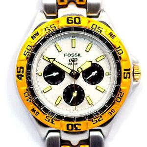 4e2d74de733d Reloj Deportivo Fossil Azul Mans Esfera Blanca 3-Eye G S Dos Tonos ...
