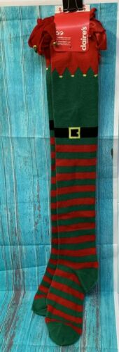 Claire/'s Christmas Socks Elf Green Red w Real Jingle Bells Fits 9-11 Knee High