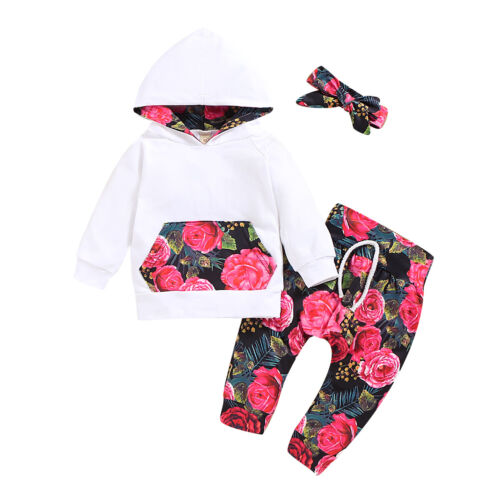 Newborn Toddler Baby Girl Outfits Floral Clothes Hoodie Tops+Pants Set Lot