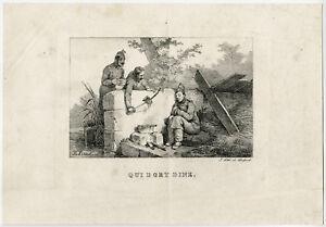 Antique Master Print-GENRE-SLEEP-SUPPER-Vernet-ca. 1825