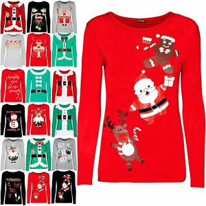 Women-Ladies-Christmas-Reindeer-Xmas-Snowflakes-Round-Neck-Long-Sleeve-T-Shirt