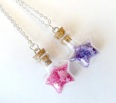Fairy Kei Glitter Wishing Stars Bottle Charm Necklace, Pink or Purple, Kawaii!