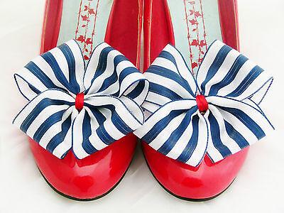 Nautical Stripe Shoe Clips 4 Shoes Ribbon Bows Party Pinup Retro Prom Navy White
