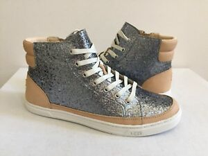 1e38d7f17a1 Details about UGG GRADIE GLITTER GUNMETAL ANKLE SNEAKERS LEATHER SHOE US 7  / EU 38 / UK 5.5