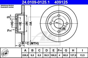 2 Stück ATE 24.0109-0125.1 Bremsscheibe