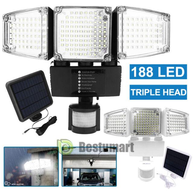 3-Head 22/188 LED Solar Security Motion Flood Light 1200LM Outdoor Sensor  Lamp