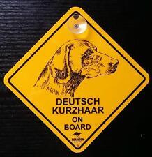 12cm Roadsign Schild mit Saugnapf Deutsch Kurzhaar Warnschild hund