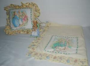 Peter-Rabbit-Baby-Blanket-Pillow-Night-Light-Lot-Quiltex-Vintage-Ceramic-Rare