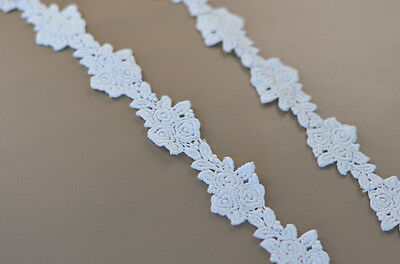 2m Cotton Lace Flower Applique Sewing Trim Craft ~35 mm wide NEW white Dolls