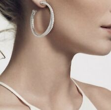 David Yurman X Crossover Hoop Earrings With Diamonds - Silver