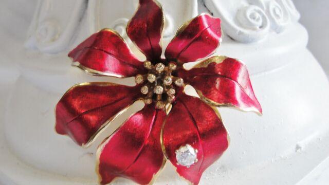 b2de9277b75 Vtg Cerrito Signed Enamel Flower Brooch Poinsettia Metallic Red Rhinestone  Gold