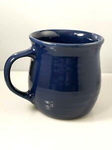 Vintage-Hyalyn-Signed-Art-Pottery-Coffee-Mug-Cup-Cobalt-Blue-Glaze-Handle-12-Oz