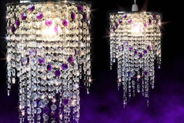 Long Clear & Purple 3 Tier Crystal Effect Pendant Chandelier Light Shade /UK