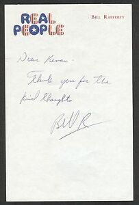 """Bill Rafferty {1944-2012} NBC """"REAL PEOPLE"""" Signed Note: Game Show Host COA"""