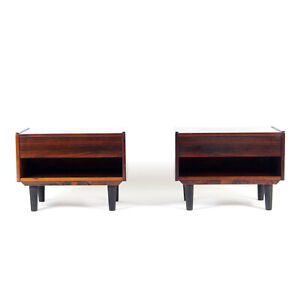 Pair Retro Vintage Danish Rosewood Bedside Tables Cabinets 60s Chest of Drawers