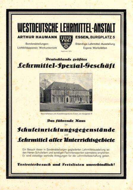Lehrmittel Haumann Essen XL Reklame 1925 Werbung Burgplatz