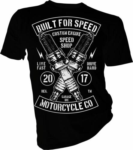 Bike Live Fast Adult /& Kids T-Shirt Biker Speed Shop Garage Motorcycle Club