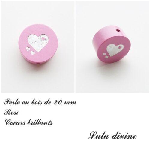 Coeur argenté Perle plate Rose Perle en bois de 20 mm