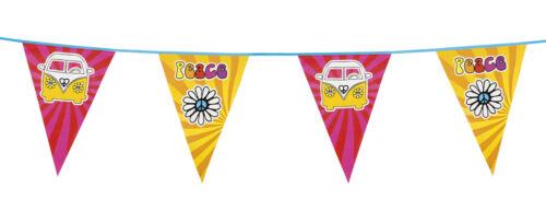 La Paix Hippie Campervan Fanion Drapeau Bunting Party Décoration 20 ft environ 6.10 m //6 m de long NOUVEAU