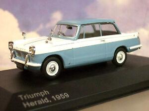 SUPERBE-Whitebox-DIECAST-1-43-1959-TRIUMPH-HERALD-Bleu-Pale-amp-Blanc-1000-seulement
