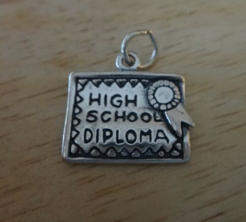 Sterling Silver 15x17mm says High School Diploma /& Ribbon Graduation Charm