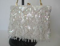 White hand made beaded clutch evening bag
