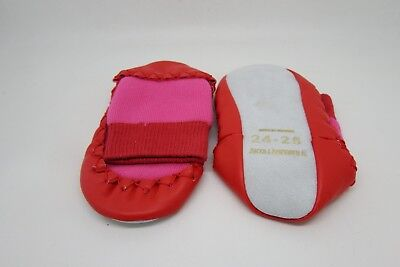 RED / PINK LEATHER SOLE MOCCASIN KNIT CHRISTMAS SLIPPER SOCKS CHILD SIZE 2 - 10