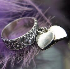 Antique Forget Me Not Dangling Hearts .925 STERLING SILVER Wedding Band Ring 6.5