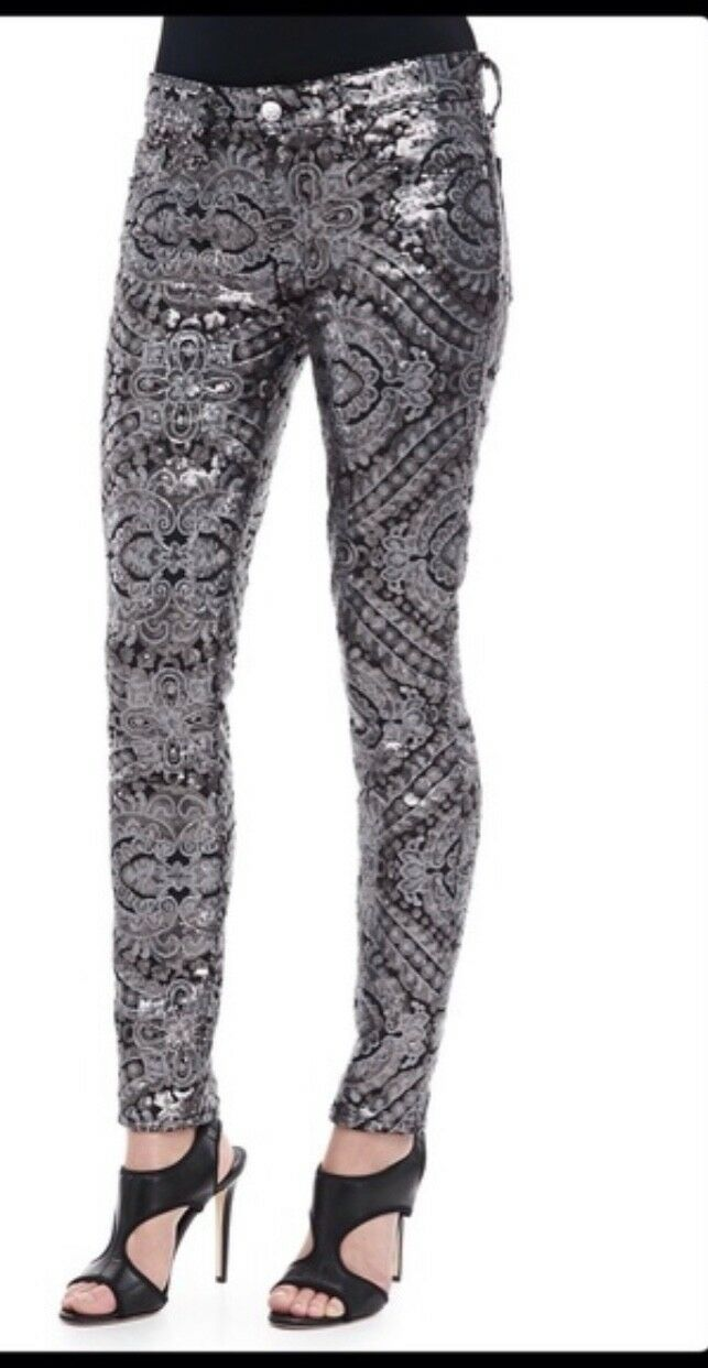 PRICE DROP   . NWT SEVEN FOR ALL MANKIND FLORAL SEQUIN JEANS 26